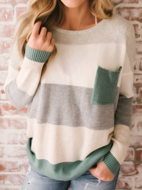 Green Long Sleeve Stripes Crew Neck Knitted Sweater