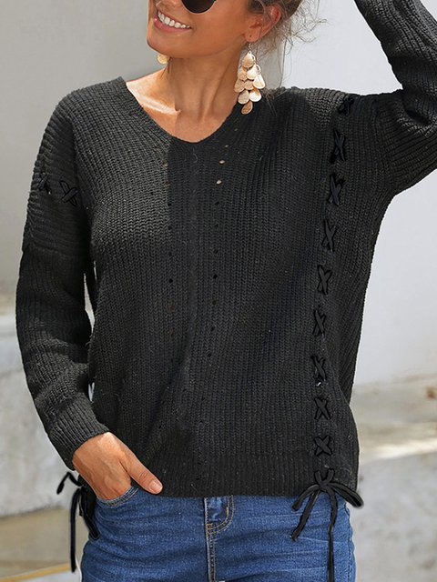 Long Sleeve Knitted Basic Shift Sweater