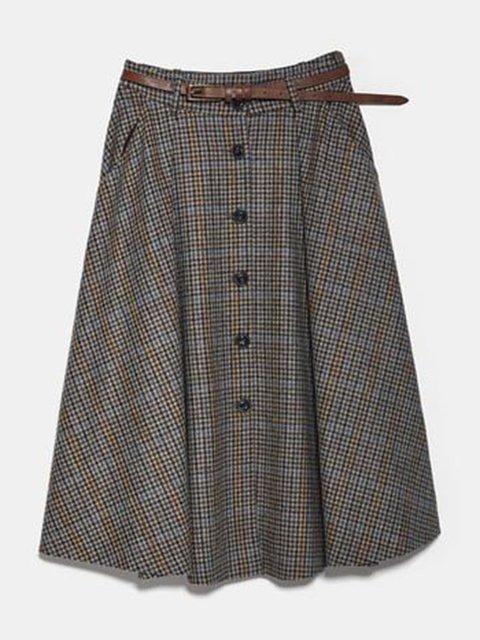 Gray Paneled Casual Swing Checkered/plaid Skirts
