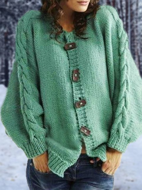 Green Buttoned Long Sleeve Solid Sweater