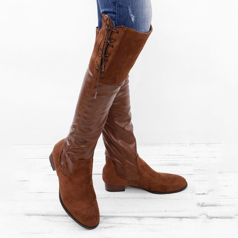 Lace-up Low Heel Boots Vintage PU Winter Boots with Back Zippers