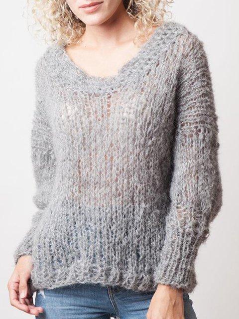 Gray Plain Outdoor Sweater