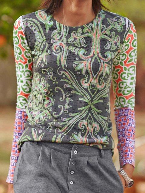 Long Sleeve Cotton Paneled Shirts & Tops