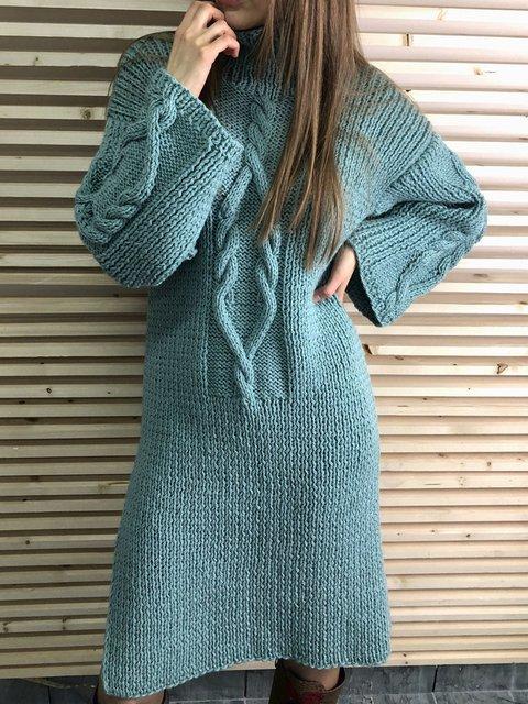 Turtleneck Blue Women Dresses Daily Solid Dresses