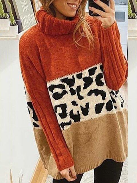 Women Leopard paneled Casual Turtleneck Sweater