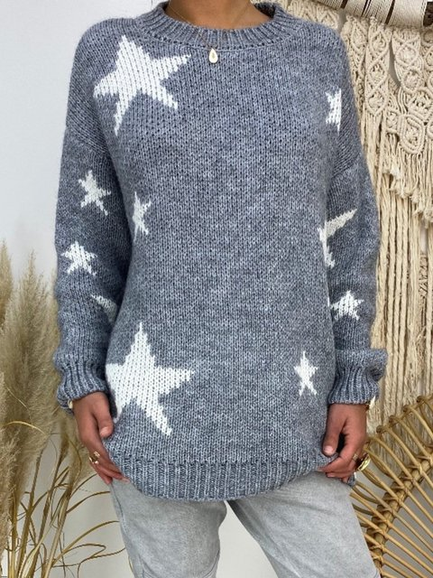 Round Neck Knitted Casual Knitted Sweater