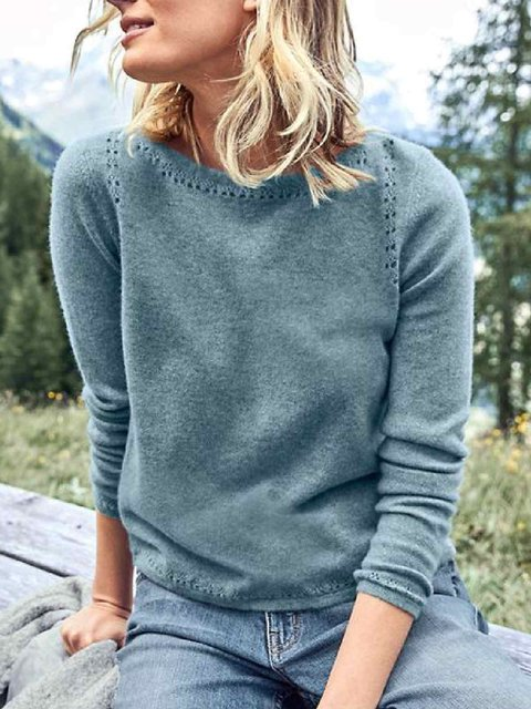 Plus Size Casual Solid Round Neck Sweater
