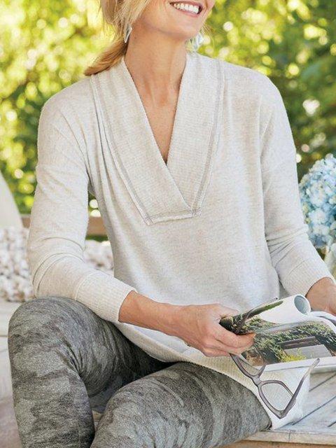 Beige Long Sleeve Solid Cotton-Blend V Neck Sweater