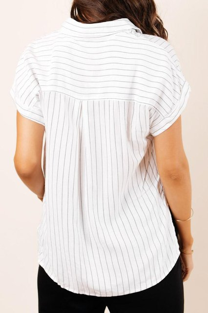 Short Sleeve Shift Striped Shirts & Tops