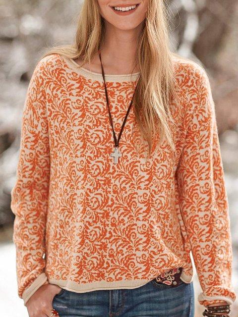 Orange Cotton-Blend Round Neck Long Sleeve Printed Tops