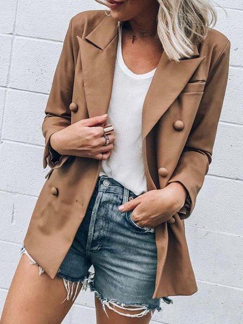 Shift Shirt Collar Casual Outerwear