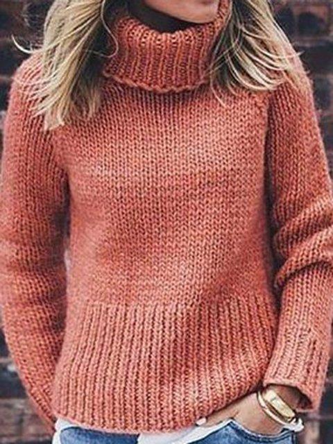 Plus SizeTurtleneck Solid Casual Sweater