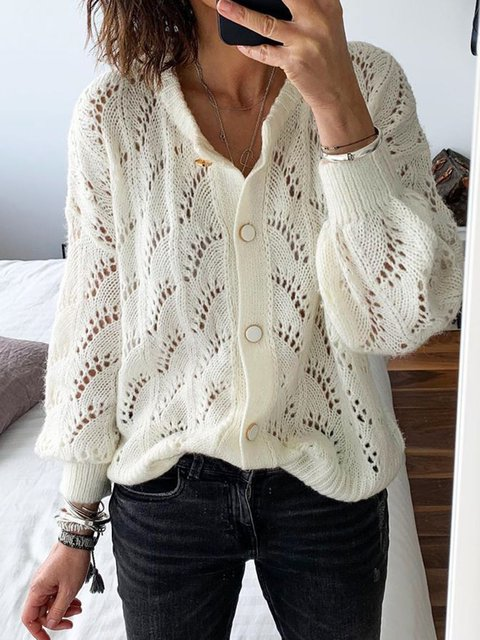 Women Buttoned Eyelet Solid Sweater Cardigan