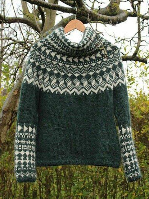 Women Color-Block Turtleneck Vintage Sweater