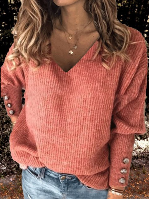 Casual V Neck Buttoned Long Sleeve Sweatshirt