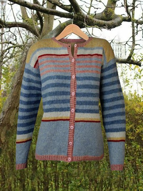 Women Buttoned Striped Vintage Sweater Cardigans