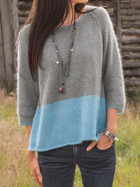 Cotton-Blend Color-Block Casual Sweater