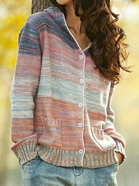Red Cotton-Blend Long Sleeve Hoodie Sweater