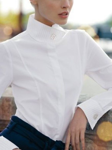 Women Cotton-Blend Long Sleeve Shift Shirts & Tops