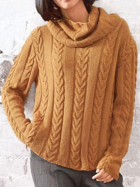 Brown Knitted Turtleneck Long Sleeve Sweaters