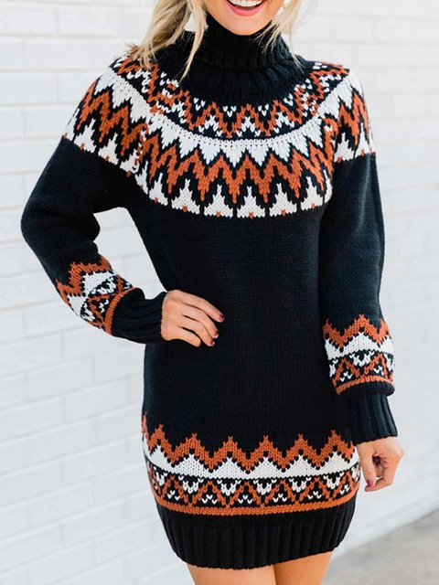 Black Long Sleeve Casual Sweater