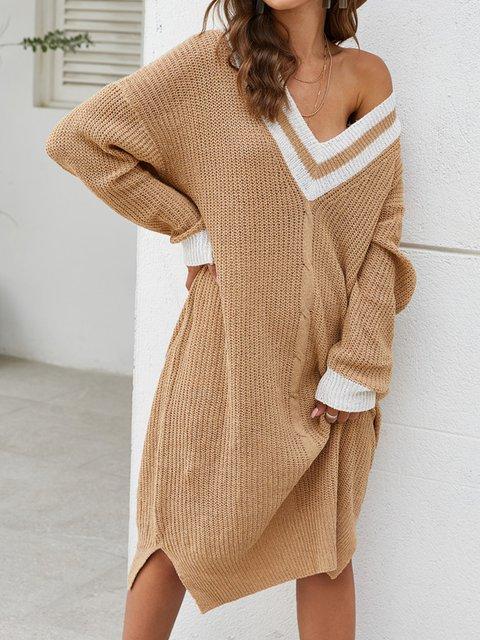 Long Sleeve Paneled Striped Sweater