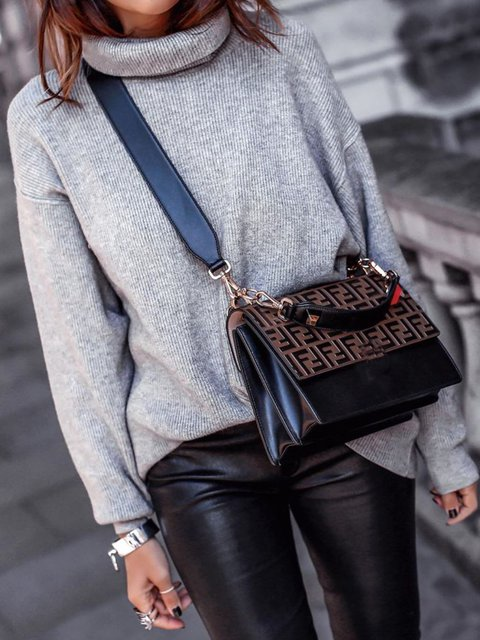 Knitted Plain Casual Sweater