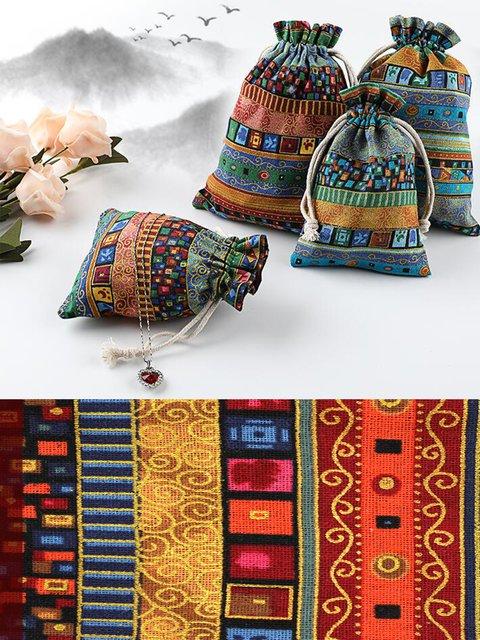 Handmade Vintage Boho Printed Jewelry Packaging Storage Drawstring Small Bag
