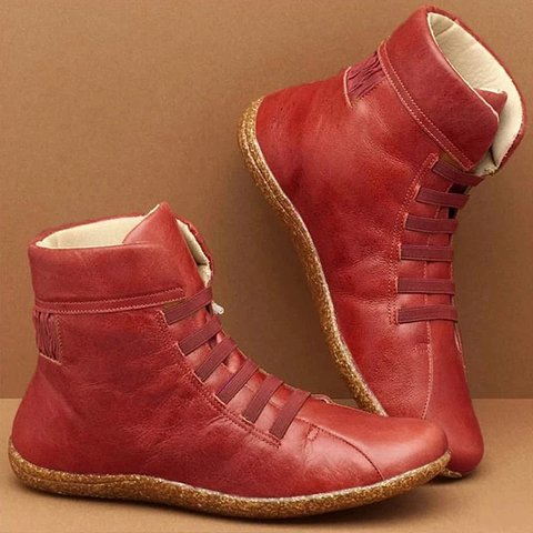 Women Plain Warm Plush Lining Lace-Up Boots