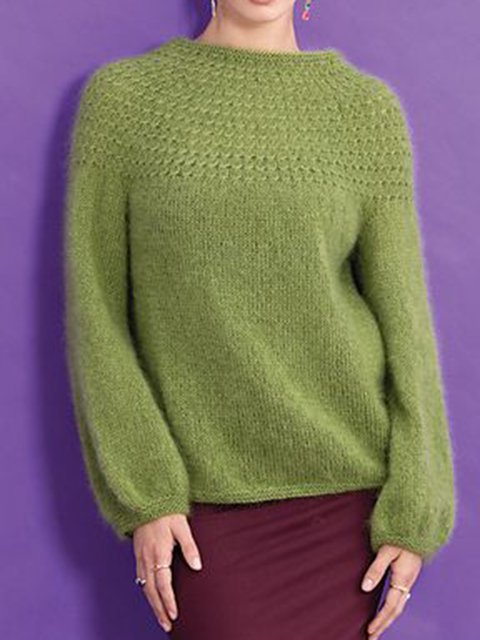 Green Solid Sweater Knitted Stand Collar Jumper