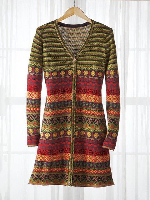 Women V-Neck Buttoned Vintage Dress