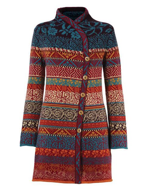 Women Buttoned Color-block Vintage Cardigans