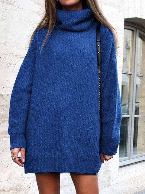 Casual Long Sleeve Cowl Neck Sweater
