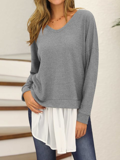 Crew Neck Casual Shirts Blouses