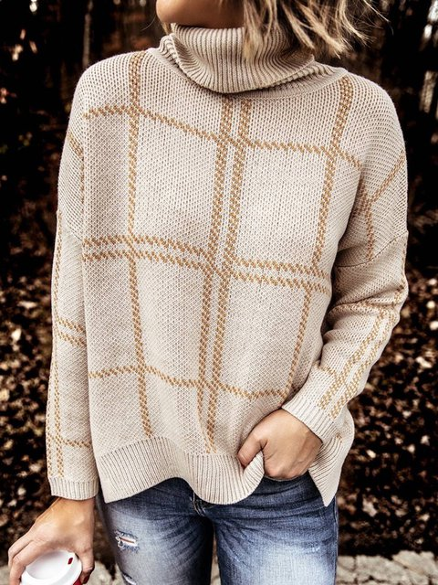Beige Knitted Turtleneck Long Sleeve Striped Plus Size Sweater