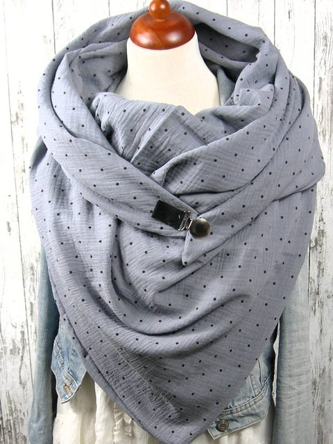 Grey Casual Cotton Polka Dots Scarves