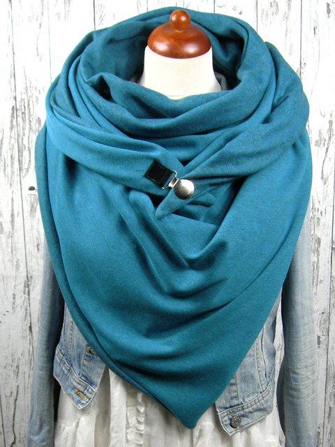 Blue Casual Cotton Scarves