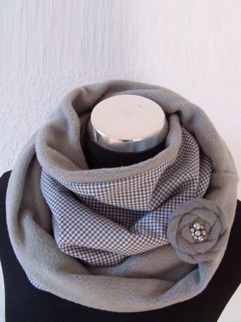 Gray Cotton-Blend Casual Plain Scarves & Shawls