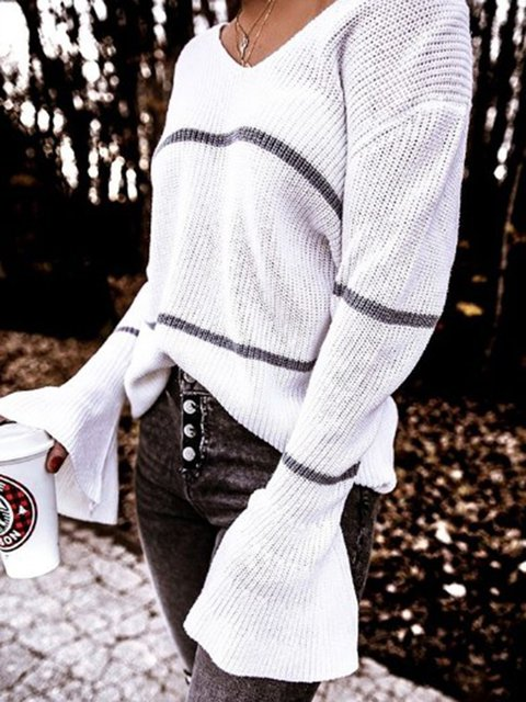 White Plain V Neck Casual Sweater