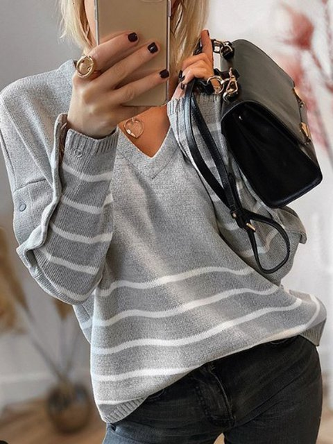 Gray Casual Cotton-Blend V Neck Sweater