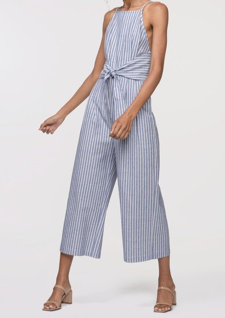 Black Stripes Sheath Cotton Stripe One-Pieces