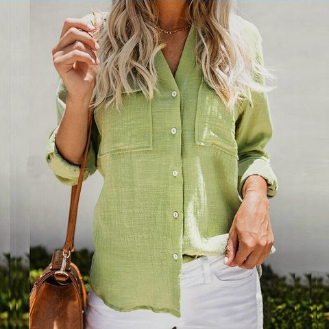 Simple Long Sleeve Cotton Shirts & Tops