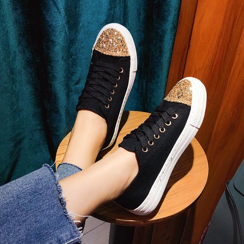 Glitter flat lace-up canvas shoes