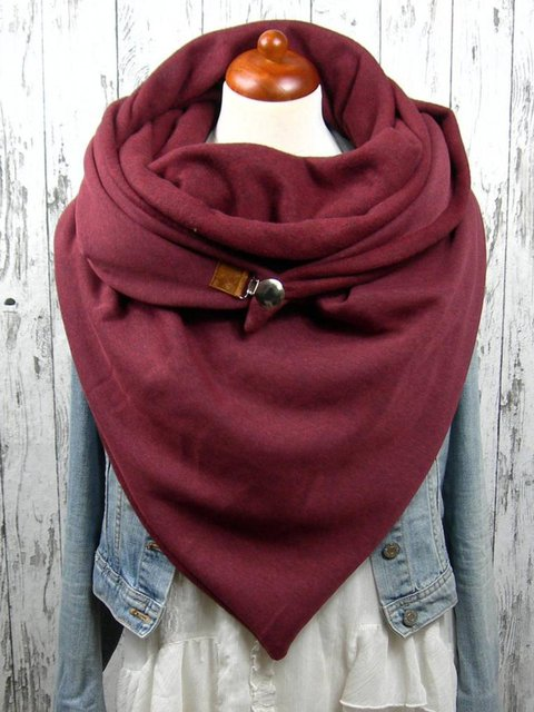 Red Casual Cotton Solid Scarves
