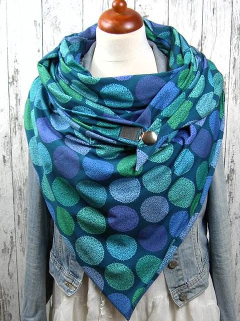 Blue Polka Dots Casual Printed Scarves