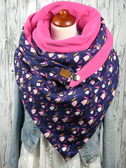 Pink Casual Printed Floral Cotton Scarves