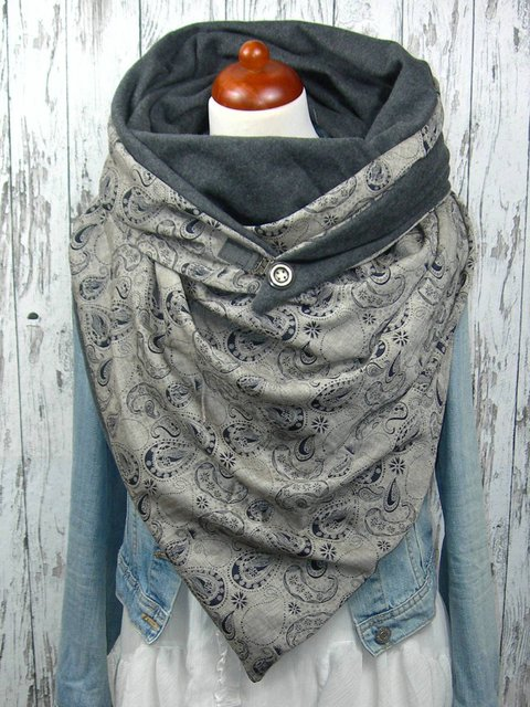 Grey Casual Floral Scarves