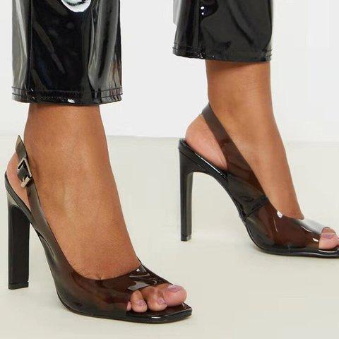 Black Buckle High Heel Daily Pvc Summer Sandals