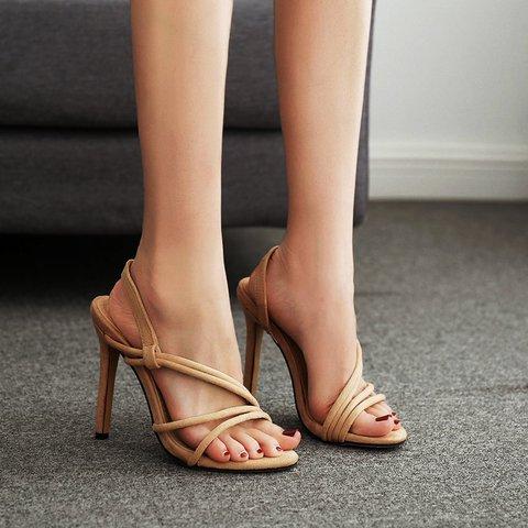 Apricot Faux Suede Seaside Stiletto Heel Summer Sandals