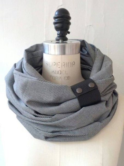 Gray Plain Cotton-Blend Casual Scarves & Shawls